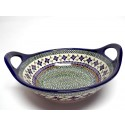 "Polish Pottery Sweetie Pie 11.5"" Handled Stoneware Bowl 