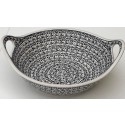 Polish Pottery ELEGANT TIMES 11.5-inch Handled Stoneware Salad-Baker Bowl   CLASSIC
