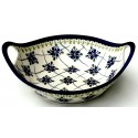 "Polish Pottery SWEETHEART 10"" Handled Stoneware Bowl 