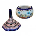Polish Pottery BUTTERFLY MERRY MAKING Garlic Stoneware Container | UNIKAT