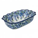"Polish Pottery TRUE BLUES 11.5"" Fancy Rimmed Stoneware Dish 