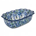 "Polish Pottery TRUE BLUES 9.6"" Fancy Rimmed Stoneware Soup Bowls 