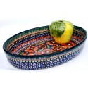 "Polish Pottery CHERISHED FRIENDS 11"" Oval Baker (SM)"