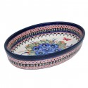 Polish Pottery STRAWBERRY BUTTERFLY 11-inch Stoneware Oval Baker | UNIKAT