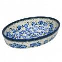 "Polish Pottery BLUE FLOWER 11"" Oval Stoneware Baker | ARTISAN"