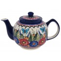 Polish Pottery BUTTERFLY MERRY MAKING 34-oz Stoneware Teapot | UNIKAT