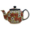 Polish Pottery RED BACOPA 34-oz Stoneware Teapot | UNIKAT