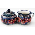 Polish Pottery CHERISHED FRIENDS Stoneware Creamer & Sugar | UNIKAT