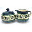 Polish Pottery DEAREST FRIEND Stoneware Creamer & Sugar | ARTISAN