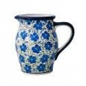 Polish Pottery BLUE HARMONY 6-Cup Stoneware Pitcher (MD)   UNIKAT