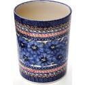 Polish Pottery BLUE PANSY Utensil Jar - Bottle Chiller