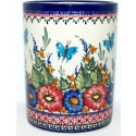 "Polish Pottery BUTTERFLY MERRY MAKING 7"" Stoneware Utensil Jar 