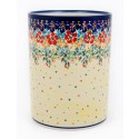 "Polish Pottery FLOWERING SPLENDOR 7"" Stoneware Utensil Jar 