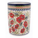 "Polish Pottery LOVE BLOSSOMS 7"" Stoneware Utensil Jar 