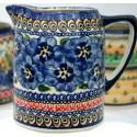 Polish Pottery BLUE PANSY .7L Cylinder Stoneware Pitcher | UNIKAT