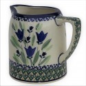 Polish Pottery BLUE TULIP .7L Cylinder Stoneware Pitcher (MD)