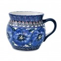 Polish Pottery BLUE PANSY 16-oz Stoneware Bubble Mug | UNIKAT