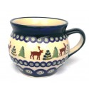Polish Pottery CARIBOU LODGE 10-oz Stoneware Bubble Mug | CLASSIC