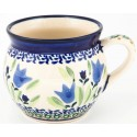 Polish Pottery BLUE TULIP 10-oz Stoneware Bubble Mug | UNIKAT