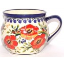 Polish Pottery LOVE BLOSSOMS 10-oz Stoneware Bubble Mug | EX-UNIKAT
