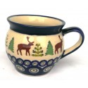 Polish Pottery CARIBOU LODGE Small Stoneware Bubble Mug | CLASSIC