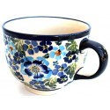 Polish Pottery TRUE BLUES 17-oz Cappuccino-Soup StonewareCup |ARTISAN