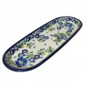 "Polish Pottery TRUE BLUES 11"" Cracker-Olive Stoneware Tray 