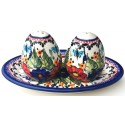 Polish Stoneware Salt & Pepper With Plate