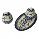Polish Pottery CARIBOU LODGE Stoneware Salt & Pepper & Dish | CLASSIC