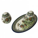 Polish Pottery WISHFUL Salt & Pepper & Tray Stoneware Set | ARTISAN
