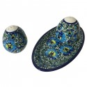Polish Pottery BLUE LAGOON Stoneware Salt And Pepper Set | UNIKAT