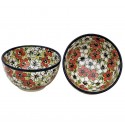Polish Pottery RED BACOPA 2-Cup Stoneware Cereal-Salad Bowl | UNIKAT