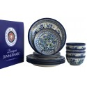 Polish Pottery BLUE TULIP & NORDIC 12 PC Designer Dinnerware Set