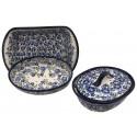 Polish Pottery BLUE FLOWERS COMBO 3-Piece Designer Baker Kit | ARTISAN