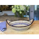 "Polish Pottery ENCHANTING 13"" Handled Stoneware Baker-Serving Bowl 