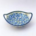 "Polish Pottery BLUE FLOWER 10"" Handled Stoneware Bowl | ARTISAN"