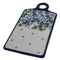 "Polish Pottery TRUE BLUES 11.5"" Rectangular Stoneware Cutting Board 
