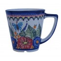 POLISH POTTERY STONEWARE LATTE MUG |  BUTTERFLY MARRYMAKING
