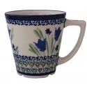 Polish Pottery BLUE TULIP 13-oz Latte Stoneware Mug | UNIKAT