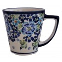 Polish Pottery TRUE BLUES 13-oz Latte Stoneware Mug | ARTISAN