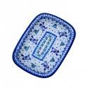 Polish Pottery SNOWMAN UNIKAT Stoneware Rectangular Platter (MD)   A-UNIKAT
