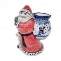 Polish Pottery SNOWMAN UNIKAT 8-inch Stoneware Santa Claus With Bag Figurine   A-UNIKAT
