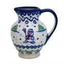 Polish Pottery SNOWMAN UNIKAT Stoneware Apollo Pitcher (SM) | A-UNIKAT