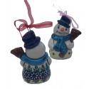 "Polish Pottery Vena JOANN 4"" Snowman Stoneware Ornament | UNIKAT"