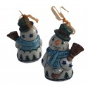 "Polish Pottery Vena WINTER MAGIC 4"" Snowman Stoneware Ornament 