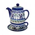 Pottery Avenue SNOWMAN UNIKAT 3-pc Stoneware Tea For One Set | A-UNIKAT
