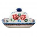 Polish Pottery FOLK UNIKAT Stoneware Butter Dish (SM) | A-UNIKAT