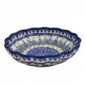 "Polish Pottery Vena JOANN 8"" Scalloped Stoneware Bowl 