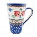 Polish Pottery FOLK UNIKAT Stoneware Latte Mug | UNIKAT