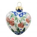 Polish Pottery SWISS SEASON Stoneware Heart Bauble | CLASSIC